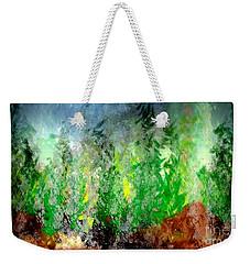 Weekender Tote Bag featuring the painting Trees 4 by John Krakora