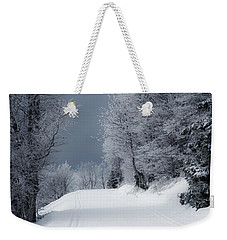 Trees Hills And Snow Weekender Tote Bag by Miguel Winterpacht