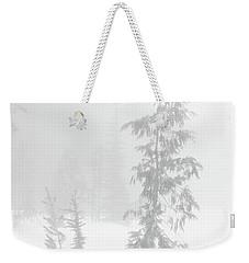 Trees In Fog Monochrome Weekender Tote Bag