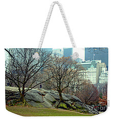 Weekender Tote Bag featuring the photograph Trees In Rock by Sandy Moulder