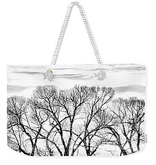 Weekender Tote Bag featuring the photograph Trees Silhouette Black And White by Jennie Marie Schell