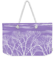 Weekender Tote Bag featuring the photograph Trees Silhouette Purple by Jennie Marie Schell