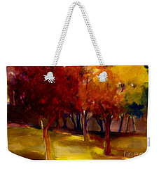 Weekender Tote Bag featuring the painting Treescape by Michelle Abrams