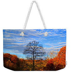Weekender Tote Bag featuring the photograph Treetops Sunrise by Kathryn Meyer