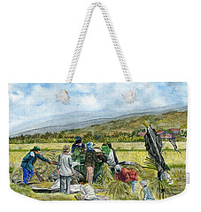 Weekender Tote Bag featuring the painting Treshing Rice by Melly Terpening