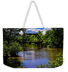 Weekender Tote Bag featuring the photograph Trestle Over River by Mark Myhaver
