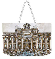 Weekender Tote Bag featuring the painting  Trevi Fountain,rome  by Andrzej Szczerski