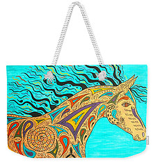 Weekender Tote Bag featuring the painting Tribal Carnival Spirit Horse by Susie WEBER