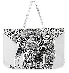 Weekender Tote Bag featuring the painting Tribal Elephant by Ashley Price