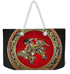 Tribute To Hokusai - Shoki Riding Lion  Weekender Tote Bag by Serge Averbukh
