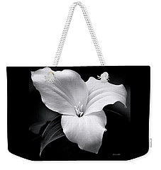Weekender Tote Bag featuring the photograph Trillium Black And White by Christina Rollo