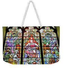 Weekender Tote Bag featuring the photograph Trinity Church Galveston by Wilhelm Hufnagl