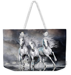Weekender Tote Bag featuring the digital art Trinity Galloping Horses Blue by Shanina Conway