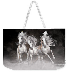 Weekender Tote Bag featuring the digital art Trinity Horses Neutrals by Shanina Conway