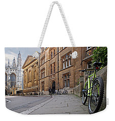 Weekender Tote Bag featuring the photograph Trinity Lane Clare College Cambridge Great Hall by Gill Billington