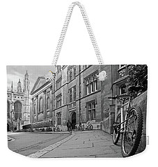 Weekender Tote Bag featuring the photograph Trinity Lane Clare College Great Hall In Black And White by Gill Billington
