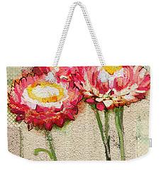 Weekender Tote Bag featuring the painting Trio by Carrie Joy Byrnes