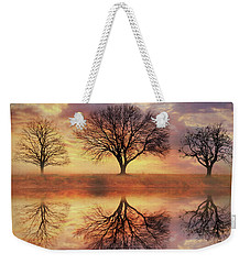 Weekender Tote Bag featuring the mixed media Trio Of Trees by Lori Deiter