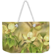 Weekender Tote Bag featuring the digital art Triple Dogwood Blossoms In Evening Light by Lois Bryan