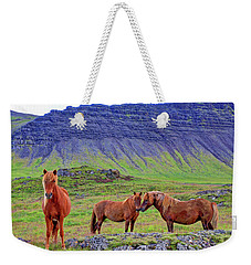 Weekender Tote Bag featuring the photograph Triple Horses by Scott Mahon