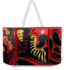 Weekender Tote Bag featuring the painting Triptych Abstract Vision by Jolanta Anna Karolska