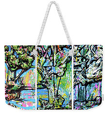 Weekender Tote Bag featuring the painting Triptych Of Three Trees By A Brook by Genevieve Esson