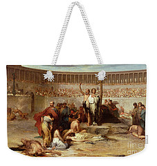 Triumph Of Faith    Christian Martyrs In The Time Of Nero Weekender Tote Bag by Eugene Romain Thirion