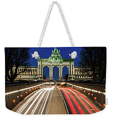 Weekender Tote Bag featuring the photograph Arcade Du Ciquantenaire At Blue Hour by Barry O Carroll