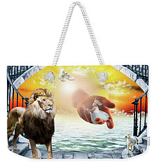 Weekender Tote Bag featuring the digital art Triune Protection by Dolores Develde