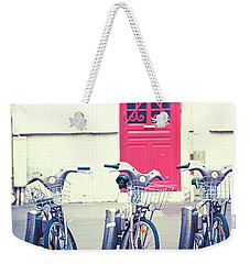 Weekender Tote Bag featuring the photograph Trois - Three Bicycles In Paris by Melanie Alexandra Price