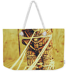 Trojan Horse Wooden Toy Being Pulled By Ropes Weekender Tote Bag by Jorgo Photography - Wall Art Gallery