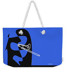 Weekender Tote Bag featuring the digital art Trombone In Blue by Jazz DaBri
