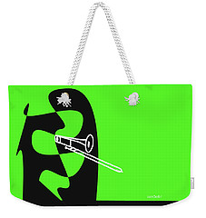 Weekender Tote Bag featuring the digital art Trombone In Green by Jazz DaBri