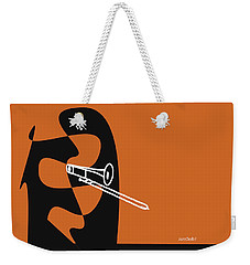 Weekender Tote Bag featuring the digital art Trombone In Orange by Jazz DaBri