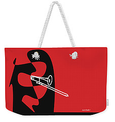 Weekender Tote Bag featuring the digital art Trombone In Red by Jazz DaBri
