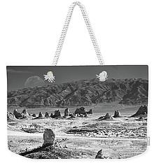Trona Pinnacles With The Moon Weekender Tote Bag by Marius Sipa