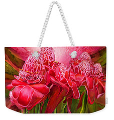 Weekender Tote Bag featuring the mixed media Tropic Garden - Torch Ginger by Carol Cavalaris