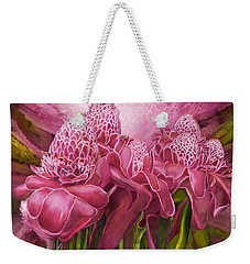 Weekender Tote Bag featuring the mixed media Tropic Garden - Torch Ginger Pink by Carol Cavalaris