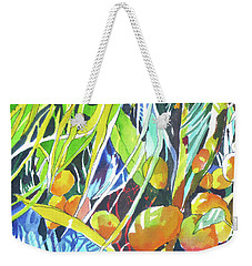 Weekender Tote Bag featuring the painting Tropical Design 1 by Rae Andrews
