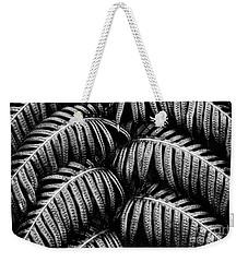 Tropical Fern Black White Weekender Tote Bag