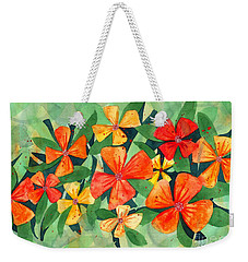 Tropical Flower Splash Weekender Tote Bag