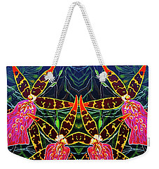 Weekender Tote Bag featuring the painting Tropical Flowers by Debbie Chamberlin