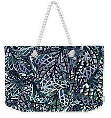 Weekender Tote Bag featuring the painting Tropical Jungle Leaves Mosaic Pattern by Menega Sabidussi