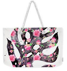 Tropical Leaf - Philodendron Black Pink Weekender Tote Bag