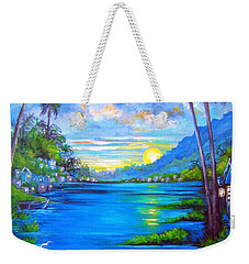 Weekender Tote Bag featuring the painting Blue by Patrice Torrillo