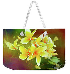 Weekender Tote Bag featuring the photograph Tropical Plumeria Art By Kaye Menner by Kaye Menner