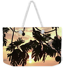 Weekender Tote Bag featuring the photograph Tropical Sunset Silhouette by Karen Nicholson