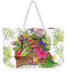Tropicals In A Basket Weekender Tote Bag by Larry Bishop