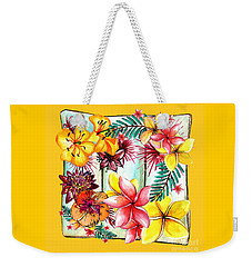 Weekender Tote Bag featuring the photograph Tropicana On Yellow By Kaye Menner by Kaye Menner