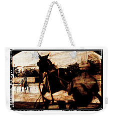 Weekender Tote Bag featuring the photograph trotting 1 - Harness racing in a vintage post processing by Pedro Cardona